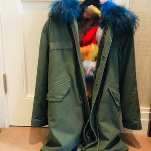 Army Parka with Patch Fox and Raccoon Fur Interior